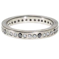 trdr391-pd-blk-b | Palladium with black brilliant cut diamonds (.12ctw), and white brilliant cut diamonds (.36ctw)