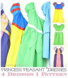 4 Disney Princess Dresses ONE Pattern at u-createcrafts.com