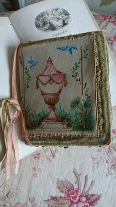 DELICIEUX ANTIQUE FRENCH HAND PAINTED NEEDLE CASE c1850 SILK VELVET & VELLUM