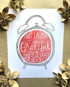 Retro Alarm Clock Print | Start Each Day with a Grateful Heart Print | Gifts for Mom, Wife, Sister, Grandma, Friend, Husband, Spouse