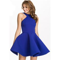 Blue Pretty Womens Halter Sleeveless Skater Dress ($35) ❤ liked on Polyvore featuring dresses, blue, halter-neck tops, sleeveless halter top, skater dress, halter top and halter-neck dress