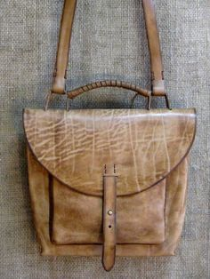 Leather flap satchel purse