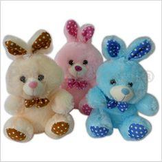 Código:TSP4766 Conejo peluche varios colores con patitas a lunares