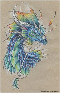 Seaside King Dragon by on DeviantArt - Heike Przyklenk - Scrunchies Cute Dragon Drawing, Dragon Sketch, Fantasy Paintings, Fantasy Art, Animal Drawings, Art Drawings, Colorful Drawings, Small Dragon Tattoos, Dragon Artwork