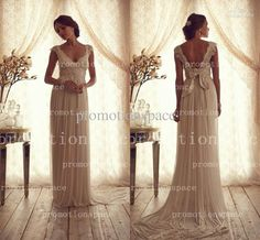 Wholesale Sheath Wedding Dresses - Buy Elegant Chiffon Sweep Tain Flow Sheath Wedding Dresses Off the Shoulder Cap Sleeves Sequins Baded Lace Bridal Gowns BO2229, $136.3 | DHgate