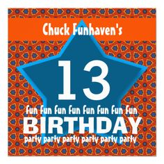13th Birthday Party or Any Year Fun STAR V13B Personalized AnnouncementsSee more:  Teen Birthday INVITATIONS: http://www.zazzle.com/jaclinart/gifts?cg=196319186511761985  Teen Birthday TEES: http://www.zazzle.com/jaclinart/gifts?ps=120&cg=196440535520435911