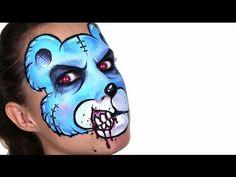Ashlea Henson - evil teddy bear face paint #Snazaroo #facepaint #Halloween Bear Face Paint, Doll Face Paint, Halloween Face Paint Scary, Halloween Makeup, Facepaint Halloween, Halloween Costumes, Family Halloween, Halloween Ideas, Bear Makeup