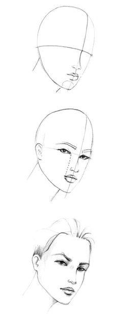 basic sketch of fashion and face. Rosto e base croqui