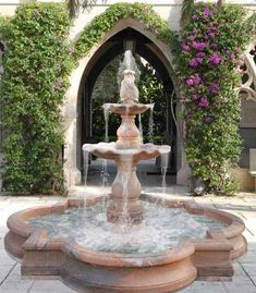 Outdoor water fountains are great water features which add more style and unique flavor to the garden, front yard or backyard designs and feng shui home for wealth. Backyard Water Fountains, Backyard Water Feature, Garden Fountains, Ponds Backyard, Backyard Landscaping, Backyard Designs, Fountain Garden, Landscaping Ideas, Landscape Fountains