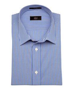 ALARA RICH BLUE MINI GINGHAM POPLIN IN CONTEMPORARY COLLAR'. #alara #cloth #dress shirts