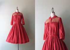 1950s Dress / Vintage 50s Folk Print Dress / by HolliePoint