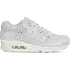 Nike Air Max 90 Pinnacle leather trainers (1.847.180 IDR) ❤ liked on Polyvore featuring shoes, sneakers, perforated leather sneakers, rubber sole sneakers, genuine leather shoes, nike trainers and nike footwear