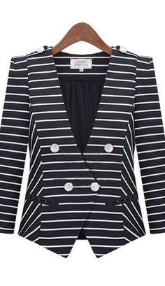 Shoulder pads stripes leisure lapel jacket