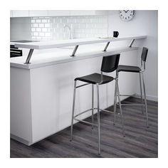 STIG Bar stool with backrest, black, silver color black/silver color 29 1/8