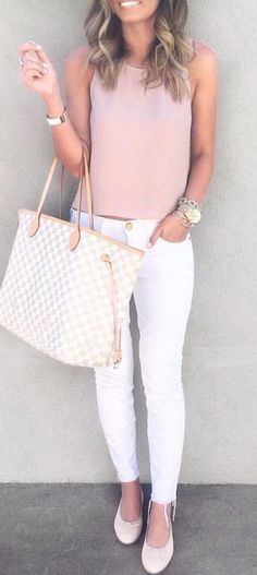summer fashion pink white denim