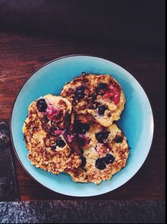 Healthy pancakes with blueberries and raspberries