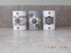Immagine correlata Diy Arts And Crafts, Diy Craft Projects, Easy Crafts, Mason Jar Crafts, Bottle Crafts, Formula Can Crafts, Art From Recycled Materials, Painted Tin Cans, Soda Can Crafts