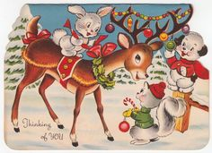 Vintage Greeting Card Christmas Die-Cut Reindeer Cute Animals Squirrel Dog Bunny