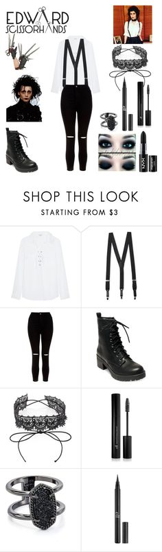 """""""Genderbent Edward Scissorhands costume"""" by obsessed-with-bands ❤ liked on Polyvore featuring Splendid, Florsheim, New Look, Madden Girl, Fallon, Forever 21, Kendra Scott, Charlotte Russe and NYX"""