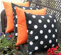 orange and black pillows