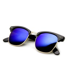 This Black & Blue-Green Mirror Clubby Sunglasses is perfect! #zulilyfinds