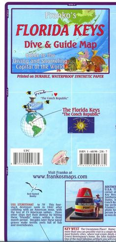 Florida Map, Florida Keys Guide and Dive, folded, 2010 by Frankos Maps Ltd.