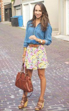 chambray shirt & flowered skirt <3 it!