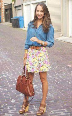chambray shirt & flowered skirt