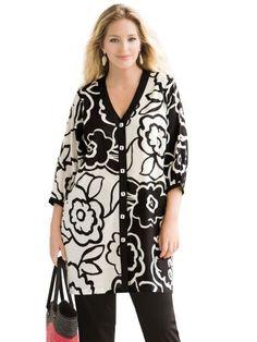 1b40f4f683b6c1 Ulla Popken Plus Size Ulla Popken Graphic Floral Shacket Duster - Black  Multi