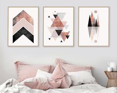 Trending Now Art, Set of 3 prints, Blush Pink, Rose Gold, 3 Set, Minimalist Poster, Scandinavian Modern, Scandinavian Print, Geometric Print