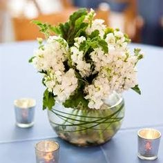 Simple White Stock Centerpieces