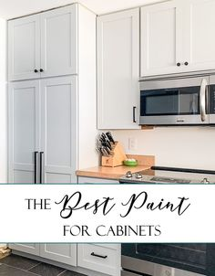 What's the best paint for kitchen cabinets? Here are two great paints, two primers, and other tools and tips to help you repaint your kitchen cabinets. Best Kitchen Cabinet Paint, Finish Kitchen Cabinets, Painting Kitchen Cabinets White, Kitchen Paint Colors, Painting Cabinets, Benjamin Moore Kitchen, Benjamin Moore Cabinet Paint, Best Paint For Kitchen, Kitchen Cabinets Reviews