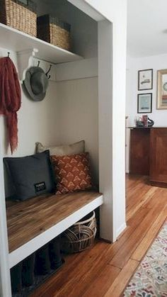 Mudroom Ideas - With these attractive mudroom ideas, you can make that cluttered entryway one of the most properly designed locations in your home. Whether your design is. ideas entryway closet Smart Mudroom Ideas to Enhance Your Home Closet Bench, Entry Closet, Front Closet, Closet Mudroom, Closet Nook, Decoration Hall, Entryway Decor, Entryway Ideas, Small Mudroom Ideas