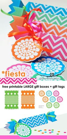 FREE PRINTABLE LRG GIFT BOXES & TAGS IN 4 COLORS- PINK- ORANGE- BLUE- GREEN  GO TO- LAST NED GRATIS - FREE DOWNLOAD: