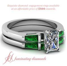 Three Stone Engagement Wedding Rings Bar Set