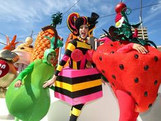 Neat pear, strawberry, pineapple costumes