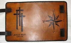 Customized handmade leather binders, bible covers, legal padfolios, and more. Engraving of name or initials is free! Leather Bible Cover, Leather Book Covers, Leather Books, Journal Covers, Book Journal, Journals, Tooled Leather, Leather Tooling, Leather Binder