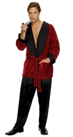 Hugh Hefner Playboy Plus Costume -  You'll be the number one ladies man in this officially licensed Hugh Hefner Playboy costume!   This snazzy Hugh Hefner costume is a crushed velvet smoking jacket. It has a few red pockets and a belt to keep it closed. There is a shiny black material on the lapels and sleeve cuffs. On the back is screen printed 'Playboy' with the Playboy emblem. #playboy #tv #movies #costume #yyc