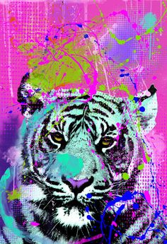 Animal, Tiger, Pop Art, Abstract - Digital painting new media pop art animal - Limited Edition of 999 Artwork Project Abstract, Abstract Art, Pop Art Colors, Color Art, Geometric Sculpture, Paper Animals, Cat Wallpaper, Acrylic Colors, New Media