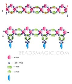 Free pattern for beautiful beaded necklace Katniss.  U need:    pearl beads 4 mm    bicone beads 4mm    bicone beads 3 mm    seed beads 10/0-11/0 or cut seed beads    dugger beads  - See more at: http://beadsmagic.com/?p=3279#more-3279
