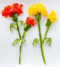 Fun Food Kids Paprika rot grün red green gelb yellow pepper flowers blumen flora deko