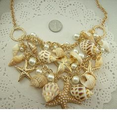 Sweet Chunky Gold Tone Sea Shell Starfish Faux Pearl Bib Statement Necklace New in Jewelry & Watches, Fashion Jewelry, Necklaces & Pendants Seashell Jewelry, Seashell Necklace, Shell Necklaces, Pearl Jewelry, Crystal Necklace, Jewelery, Fine Jewelry, Jewelry Making, Jewelry Necklaces