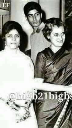 Amitabh Bachchan with his mother Teji Bachchan and Indira Gandhi
