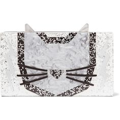 Karl Lagerfeld Minaudiere Cat glittered acrylic box clutch ($180) ❤ liked on Polyvore featuring bags, handbags, clutches, silver, cellphone purse, acrylic box clutch, chain strap purse, cat purse and box clutch