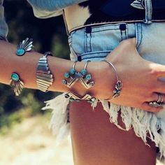 Silver and turquoise.