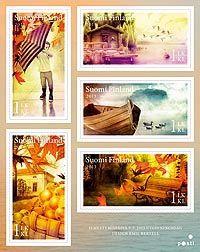 Postin verkkokauppa Vihkot ja pienoisarkit Syksyn merkit - viiden (5) postimerkin pienoisarkki
