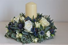 Nina's Winter Wedding Flowers, Scottish Thistle, White Rose, berries, and Eucalyptus