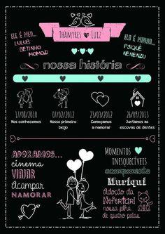 Tarjeta para bodas Wedding Decor, Wedding Reception, Couple Scrapbook, Bridal Shower, Baby Shower, Chalkboard Poster, Blackboards, Open House, Save The Date