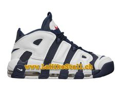 hot sale online 2e0cc 2cc16 Nike Air More Uptempo (2012) GS Blanc Bleu Nike LifeStyle Pas Cher  Chaussures Pour
