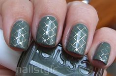 Base colour: Essie Sew Psyched  Nail plate: Konad M79  Stamp colour: China Glaze 2030